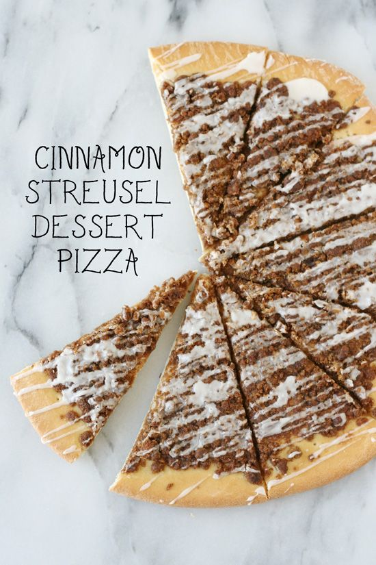 Cinnamon Streusel Dessert Pizza - So easy and everyone loves it!!: Dessert Recipes, Dessert Pizza Recipe, Sweet Treats, Cinnamon Streusel, Pizza Recipes, Desert Pizza, Streusel Pizza, Dessert Pizzas