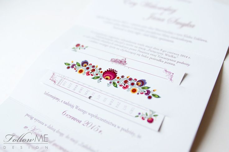 Zaproszenia ślubne z kwiatami ludowymi, Białe zaproszenia ślubne - kwiaty ludowe / Białe dekoracje ślubne od FollowMe DESIGN / Polish Folk Flowers Wedding Invitation, White Wedding Wedding Invitations, Decorations & Details by FollowMe DESIGN