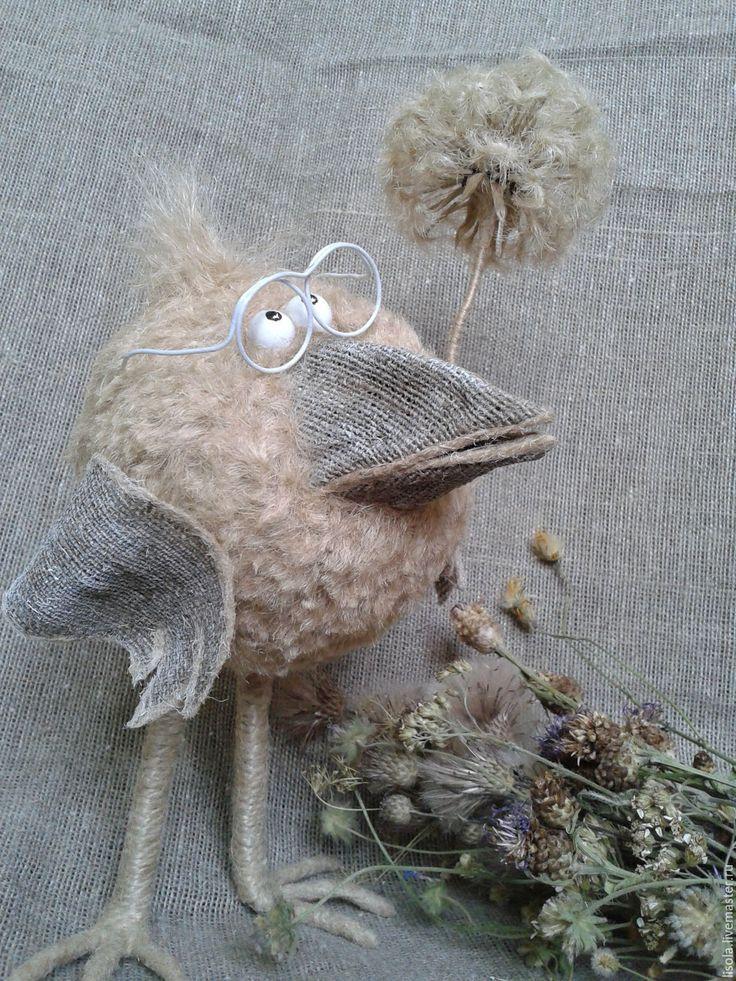 Купить Ботаник - темно-серый, джутовый шпагат, мешковина, птица, интерьерная игрушка, подарок, пенопласт