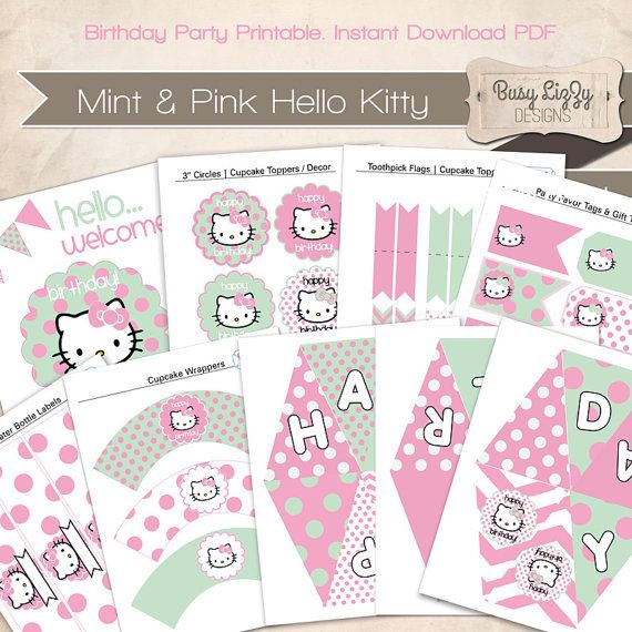 Instant Download DIY Hello Kitty Party Printable Party