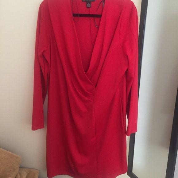 Forever 21+ Plus Draped Surplice Bodycon Dress Long sleeves with lightly padded shoulders. Worn only once in May 2014 Forever 21 Dresses Long Sleeve