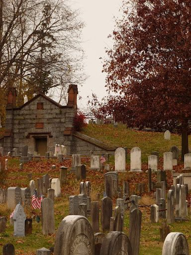 Sleepy Hollow Cemetery. I think I'd dress like a headless horseman on Halloween and run around here...