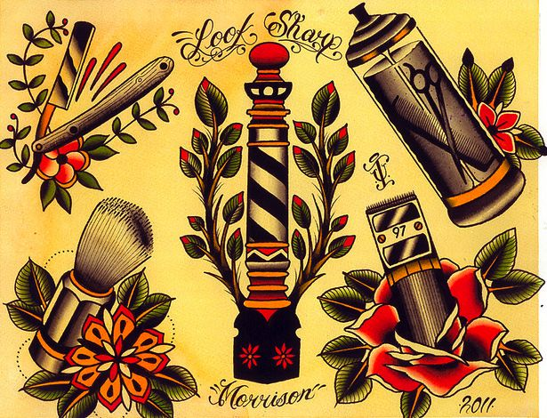 Barber Shop Flash Art | i like straight razor tattoos but i'm afraid they're a bit too common