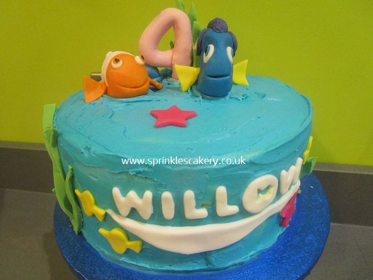 Some rustic blue buttercream for this under the sea 'Finding Dory' cake.