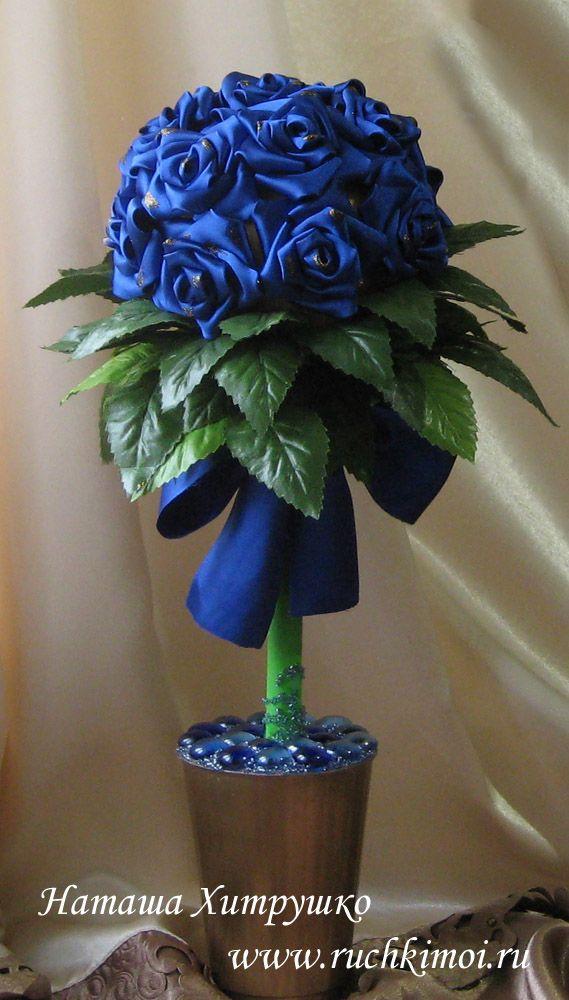 Топиарий с розами из атласа своими руками. Подробный МК