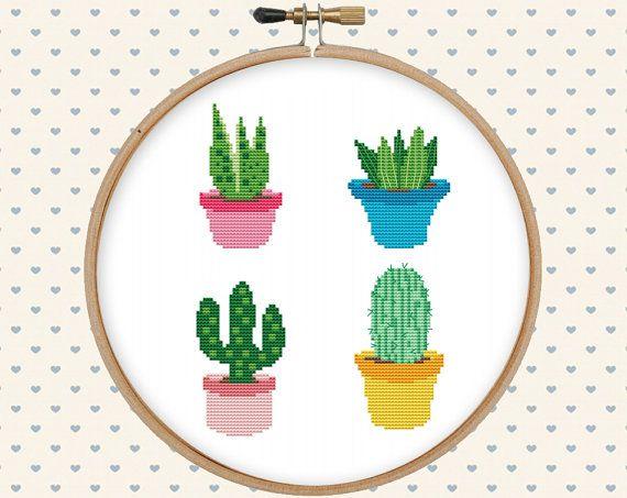 Cactus Cruz puntada patrón cute punto de Cruz por GentleFeather