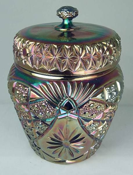 Covered Biscuit Barrel, blue - thistlewoods.net Carnival Glass - Triple Alliance