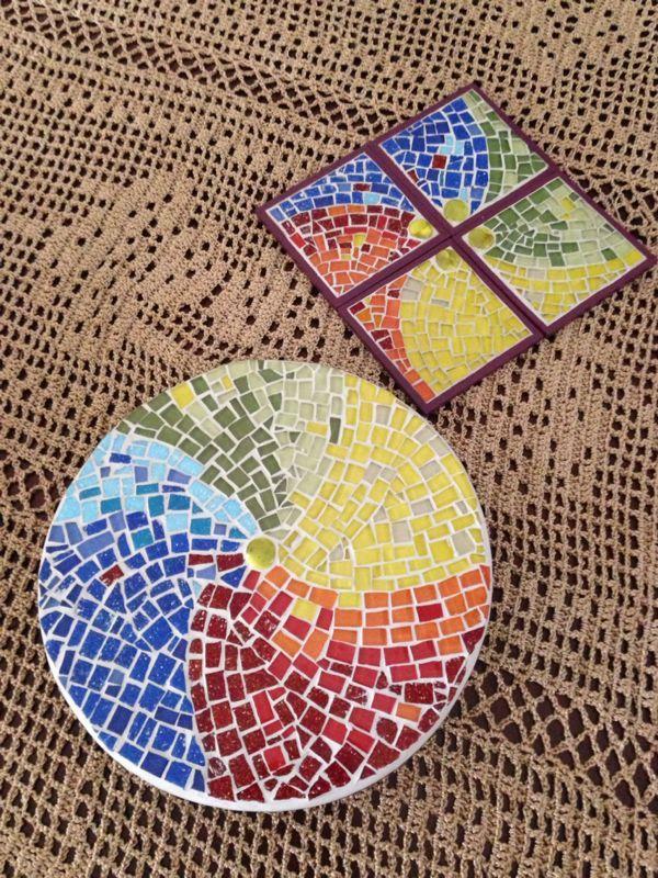 Tabla De Quesos Y Portavasos Taller Amar Arte En Mosaico