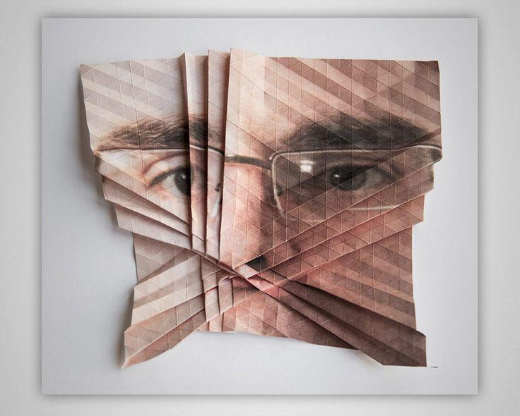 aldo tolino folds portraits into geometric facial landscapes