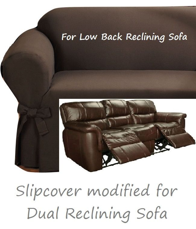 Dual Reclining SOFA Slipcover Ribbed Texture Chocolate Low Back Adapted For Recliner  Couch