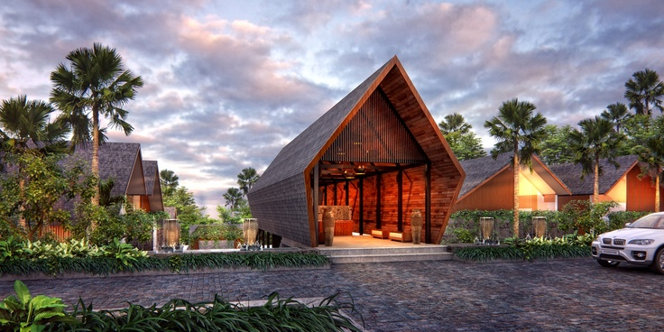 Situated close to the shores of Tanjung Benoa in Nusa Dua, Bali, this exclusive riverfront boutique property has a warm and intimate feel inspired by the close-knit villages of northern Bali. Different roof shapes and orientations, criss-crossed by small alleys and small open plaza spaces, create interesting visual effects and an organic feel as one wanders through.