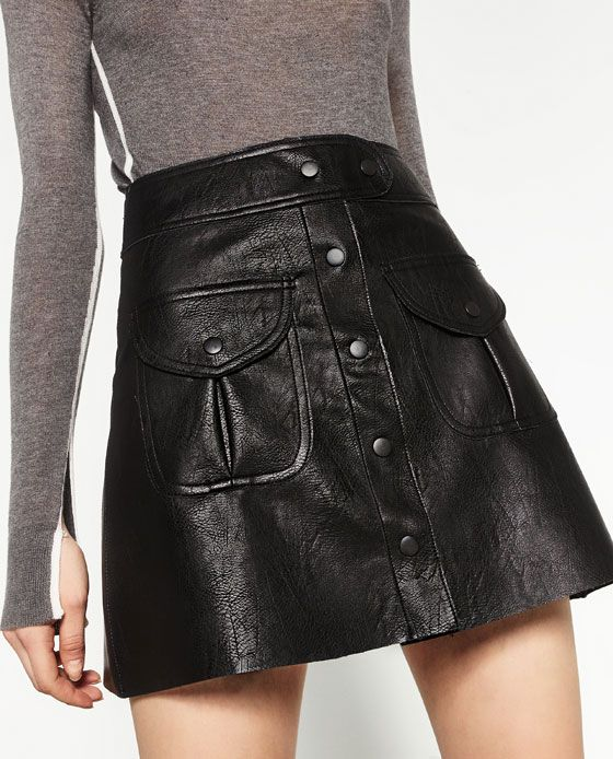 Image 2 of LEATHER MINI SKIRT from Zara