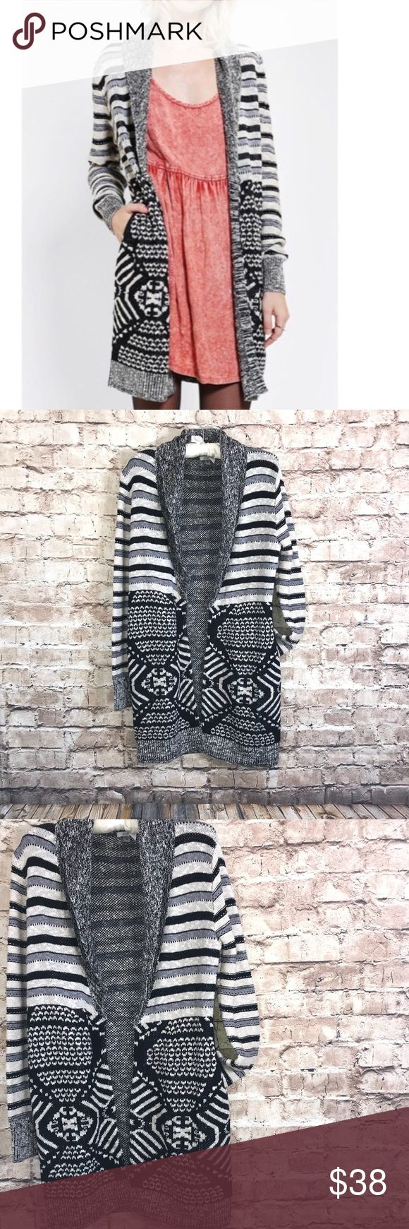 """UO Ecote Long Open Front Striped Tribal Cardigan Urban Outfitters Ecote Long Open Front Striped Tribal Cardigan Sweater. Size Small. 58 Cotton 42 Acrylic. Soft and comfortable. Black, gray and off white. Pockets  Measurements - Laid Flat  19"""" Across chest  25"""" Sleeve Length  30"""" Length Urban Outfitters Sweaters Cardigans"""