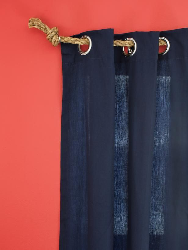 10 Creative Ways to Use Household Items As Curtain Hardware : nautical rope curtain holder