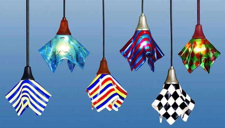fused glass | Ceiling Pendants feature Fused Art Glass shades., Meyda Tiffany