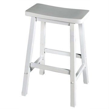 Samarai Solid Rubberwood Timber Stool - White