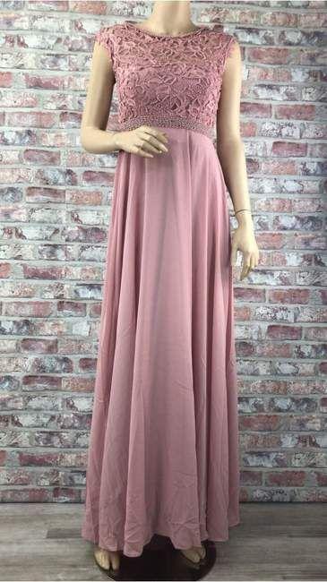 ec4b471988cf Ružové dlhé spoločenské šaty s čipkovaným topom