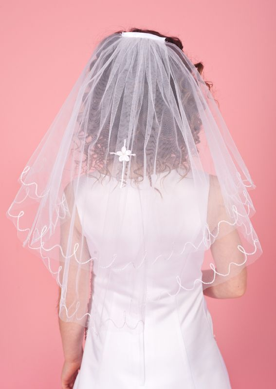 Embroidered Flower Cross Communion Veil LA142
