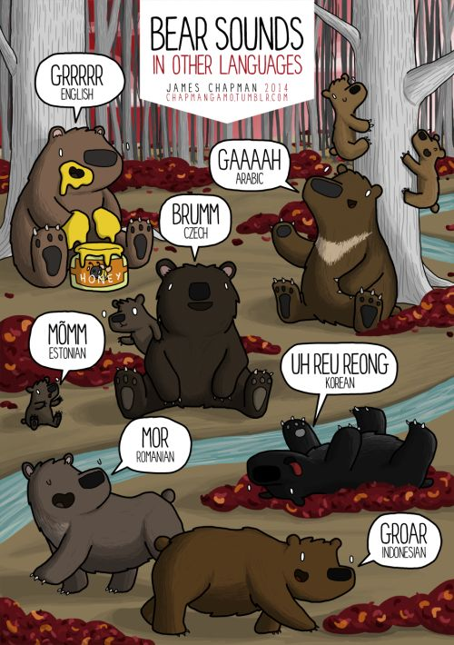 Fun fact: 'Mor' is also the Romanian word for death, so they are extra terrifying.And there's ak-pop song about growling to help you pronounce UH REU REONG This is a page from the Soundimals book, of which there are less than 100 copies left! So if you want one for Christmas, don't delayyyy. It's for sale here. twitter|facebook|instagram|shop