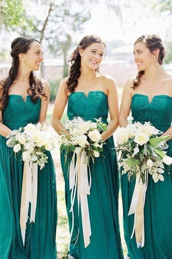 Bridesmaid Dresses Green Chiffon Prom Dresses A Line Prom