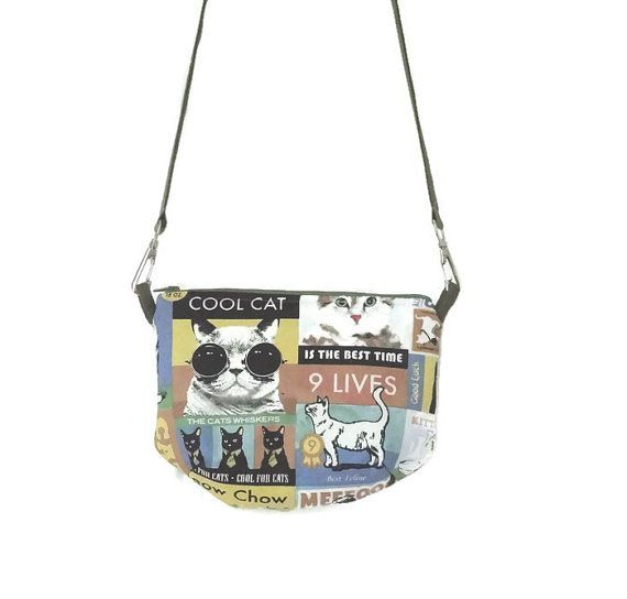 Cool Cat Zipper Sling Bag // Shoulder Bag // Zipper Pouch