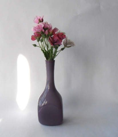 Retro smoky purple cased glass bottle vase with white cased
