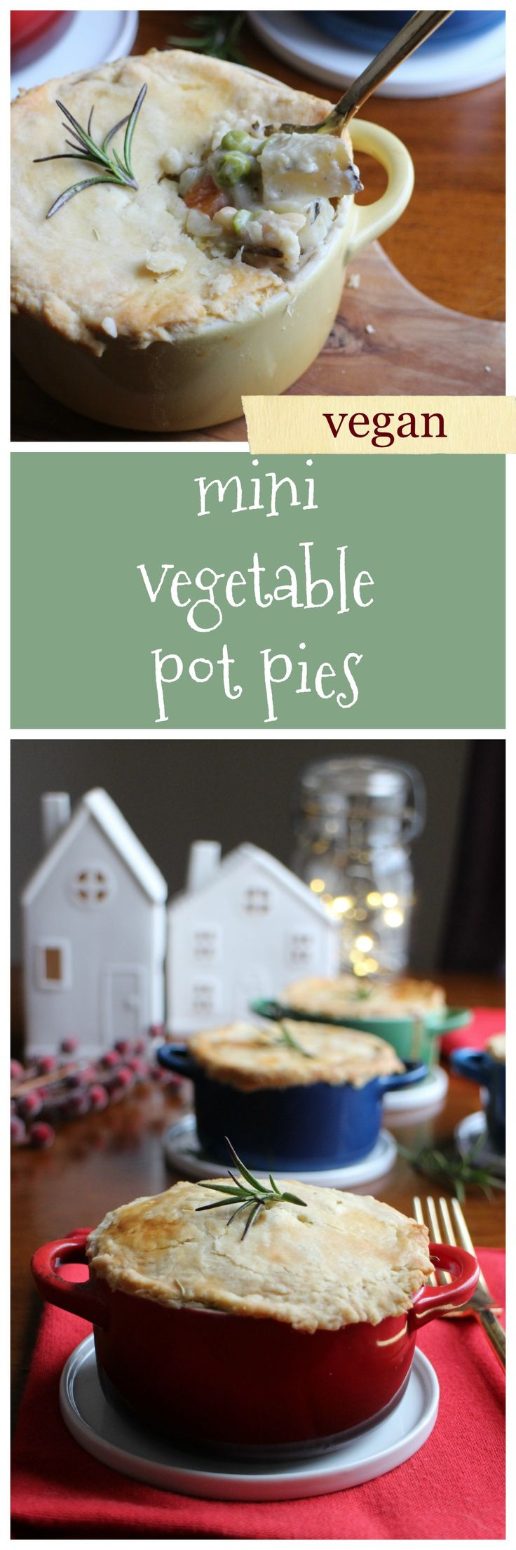 Mini vegetable pot pie: The perfect vegan main course for your holiday gathering or dinner party. They are made with chickpeas, vegetables aplenty, and cashew cream. On top, a flaky pie crust using @bobsredmill flour #BobsHolidayCheer | cadryskitchen.com