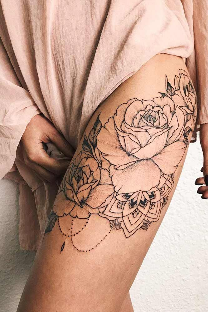 Black And White Rose Tattoo Design For Leg Legtattoo Tattoodesigns Butterfly Tattoos For Women Tattoos For Women Upper Leg Tattoos