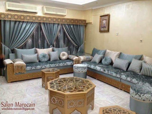 Salon marocain avec une combinaison merveilles de l'ameublement traditionnel et moderne issue de l'artisanat marocain.