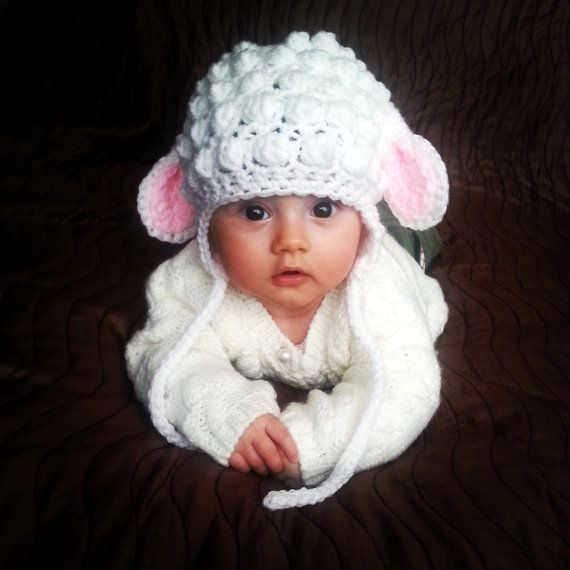 Crochet newborn/baby little lamb hat white photo by fridaysfactory,