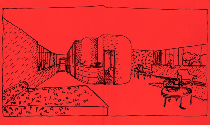 Drawing by Le Corbusier of the interior of Villa Besnus, from his room habitación.. Image © The villas of Le Corbusier and Pierre Jeanneret (1920-1930)