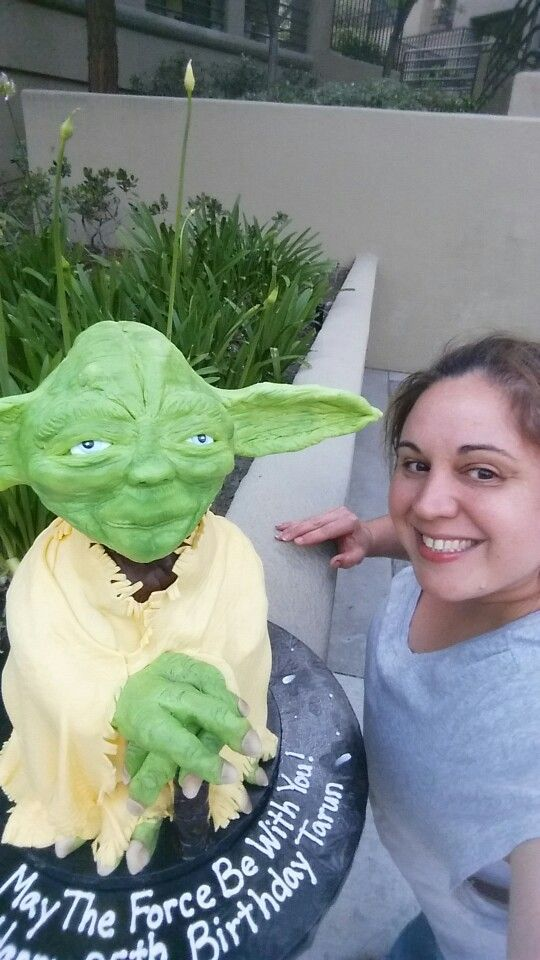 A selfie with our Yoda cake!