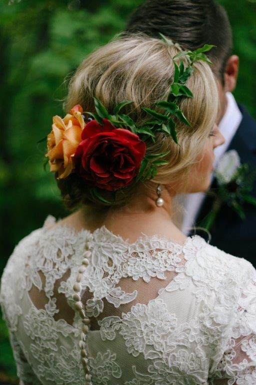 Lace and floral head piece | Carrie Purser Makeup and Hair Artistry
