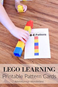 free printable cards to teach your child how to make and recognize patterns using LEGO.
