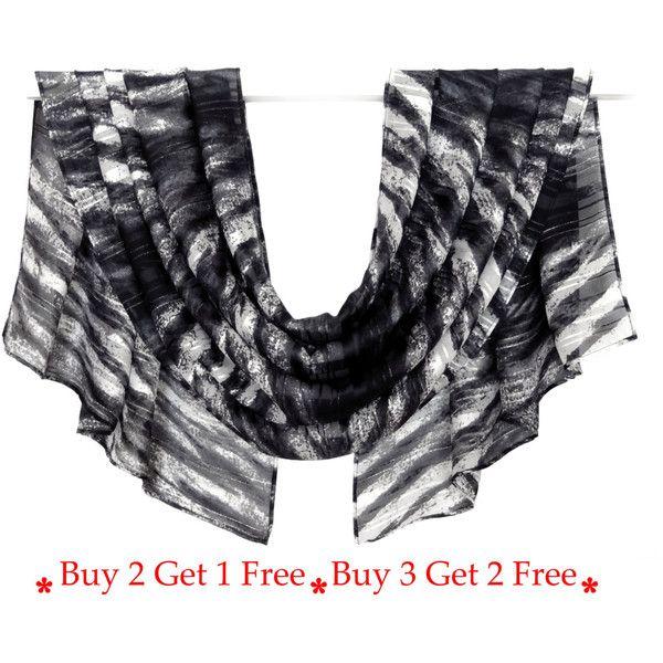 Gestreepte grijze sjaal, chiffon sjaal, Print Sjaal, zijden sjaal,... (1.070 ISK) ❤ liked on Polyvore featuring accessories