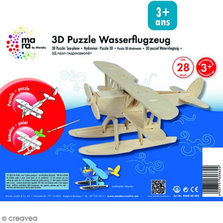 Puzzle 3D en bois à monter - Hydravion - 28 pcs
