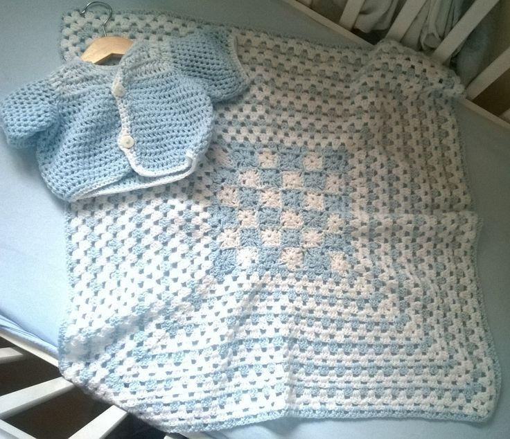 Crochet baby blanket and cardigan