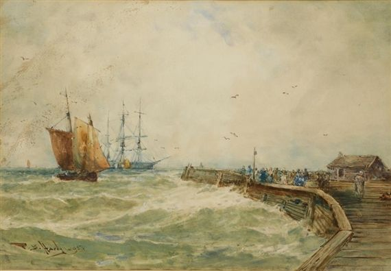 Artwork by Thomas Bush Hardy, Fishing boat and three-masted barque in a squall by a pier, Made of watercolour