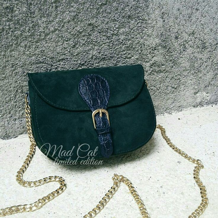 Mini bag made of suede and crocodile leather