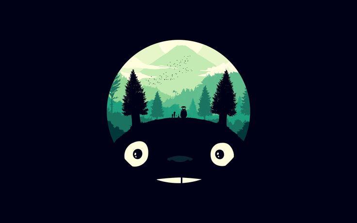 Totoro Art Illust Simple Cute Dark 4k Wallpaper Hdwallpaper Desktop Totoro Art Ghibli Artwork Ghibli Art