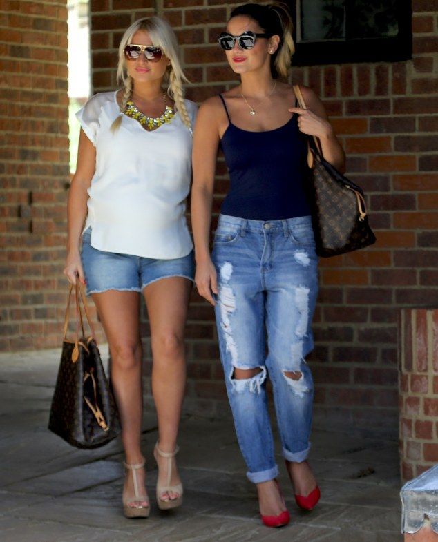 Sam Faiers..  boyfriend jeans, camisole, and Kardashian Collection heels.. with Billie Faiers..