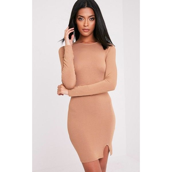 Katiya Camel Long Sleeve Split Front Bodycon Dress ($12) ❤ liked on Polyvore featuring dresses, camel, bodycon party dresses, sexy red cocktail dress, sexy dresses, party dresses and cocktail party dress