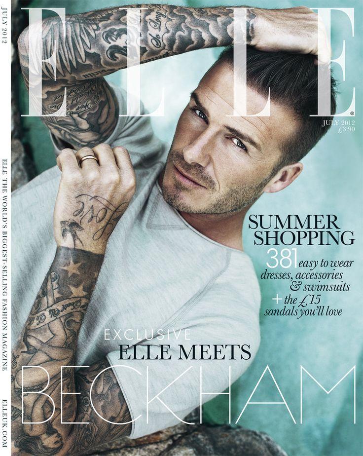 David Beckham Shirtless Elle UK Cover
