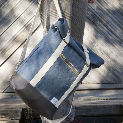 """Roll Top Backpack """"AHTI"""", blue-grey (white straps) 