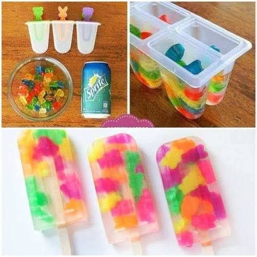 1. Fill popsicle tray with gummy bears. 2. Top with Sprite. 3. Freeze. 4. Enjoy!  I might try this with Sour Patch Kids.