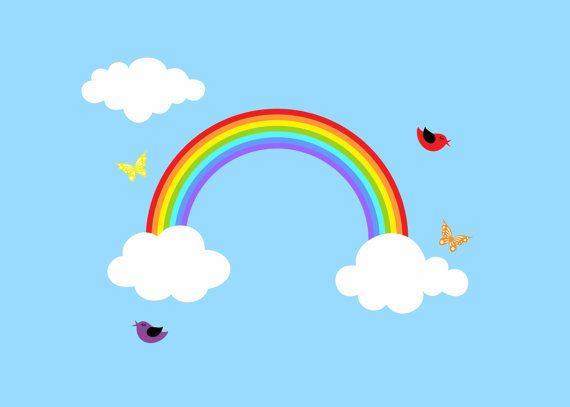 Reusable Rainbow Wall Decal Children Wall Decal Kids Sticker Room Decor Large on Etsy, $34.95