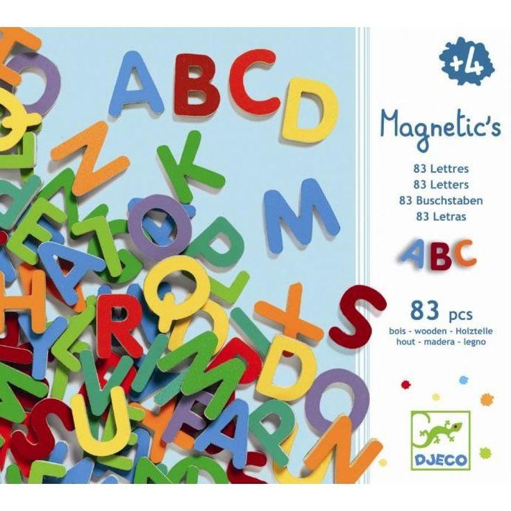 DJECO DJ03101 - Magnetic's Letters - 83 Lettere Magnetiche Piccole in Legno | lalberoazzurro.net