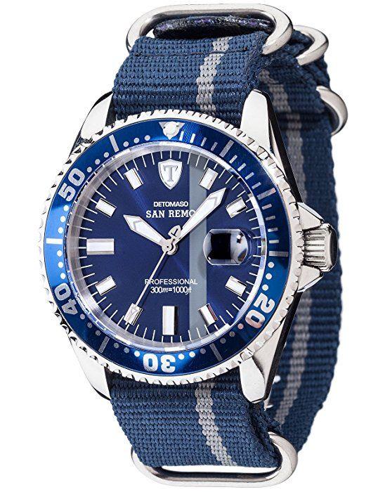 Detomaso Herren-Armbanduhr SAN REMO Silver Strap Analog Automatik Nylon DT1025-P