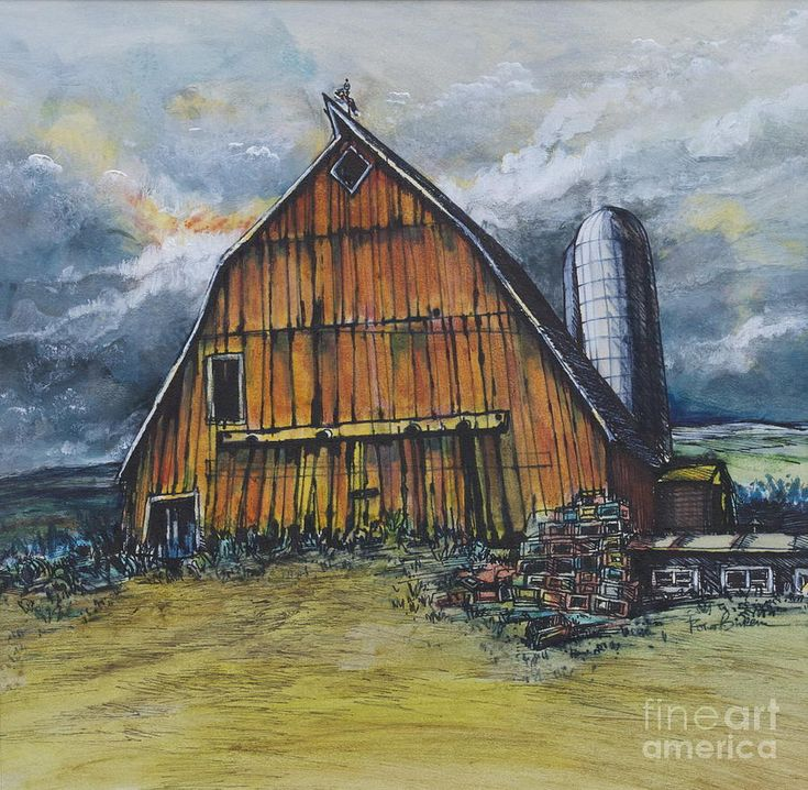 Old Illinois Barn With Silo