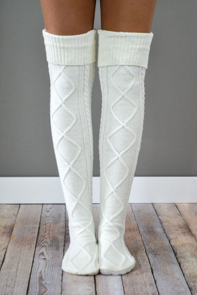 Cream Diamond Cable Knit Boot Socks